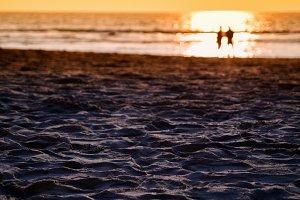 Meeting under sunset