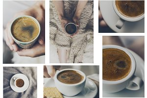 Collage Tasty Coffee People Home