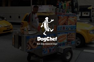 Dogchef : Hot Dog Mascot Logo