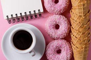 Donuts Coffee Notebook Ice Cream