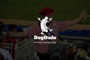 Dogdude : Hot Dog Mascot Logo