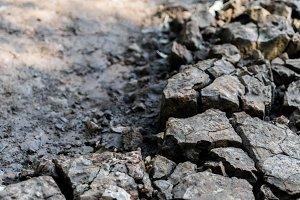 Cracked dry soil perspective bokeh