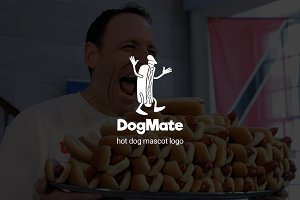 Dogmate : Hot Dog Mascot Logo
