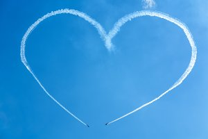 A heart in the blue sky