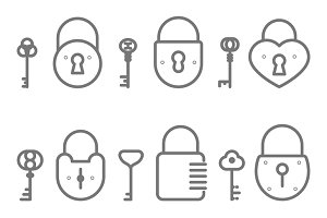 Lock keyhole and keys icons set