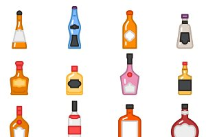 Alcohol bottles icons
