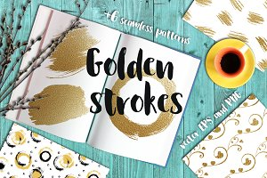 Gold or golden brush strokes
