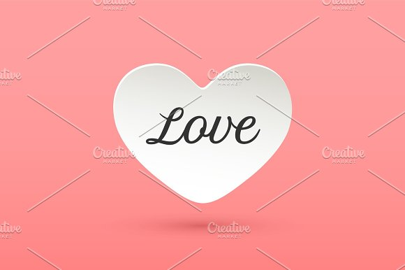 White Paper Heart With Lettering Love