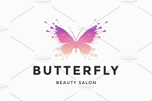 Label Of Beauty Salon Butterfly