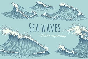 Set Sea waves. Vector engraving.
