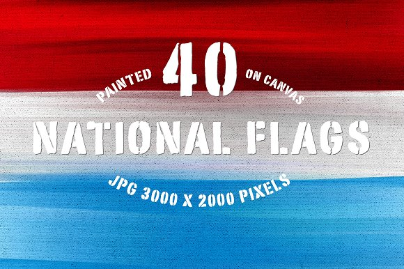 40 National Flags Painted on Canvas
