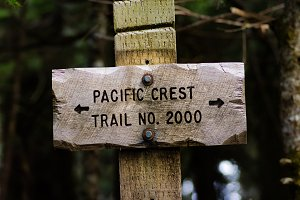 Sign post for trail 2000 Pacific Crest Trail