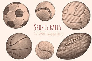 Set Sports balls. Vector engraving.