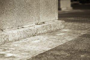 Diagonal city brick pavement background