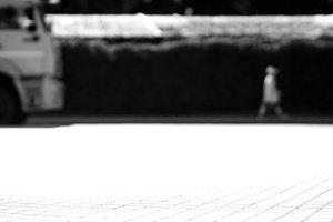 Horizontal black and white city street background