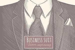 Business suit. Vector engraving.