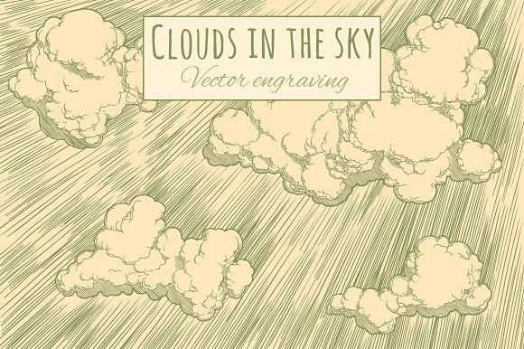 Clouds in the sky. Vector engraving.