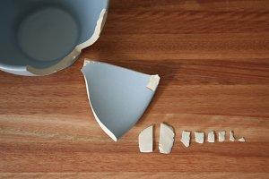 blue broken organized pieces