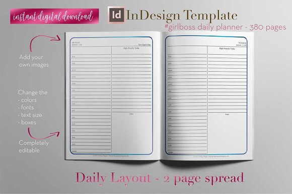 daily planner indesign template stationery templates creative