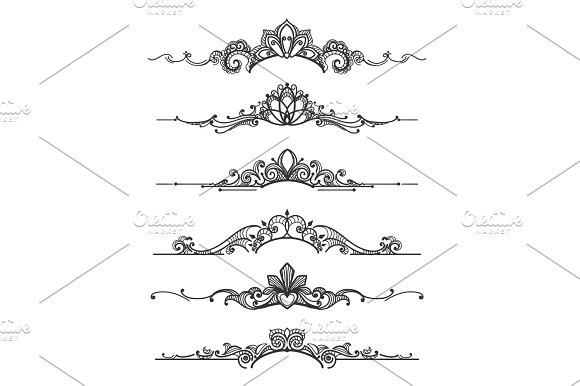 Floral Design Crown Calligraphic Elements