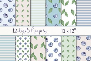 "Digital Paper ""Berries & leaves"""