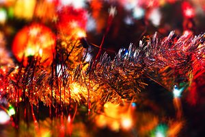 Horizontal vivid new year garland decoration bokeh background ba