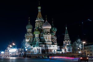 Square night Moscow Cathedral of Vasily the Blessed background b