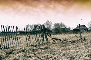 Horizontal dark ghost zombie russian village background backdrop