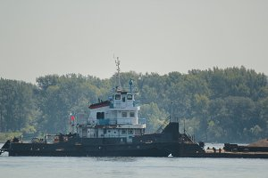 River cargo ship on the volga, telephoto shot