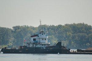 River cargo ship on the volga, telephoto shot