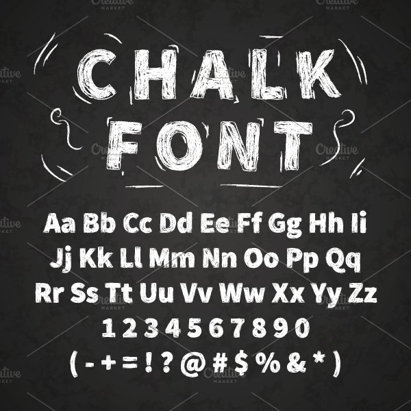 White chalk font on chalkboard graphics creative market for Blackboard with white removable letters