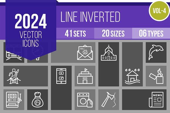 2024 Vector Line Inverted Icons
