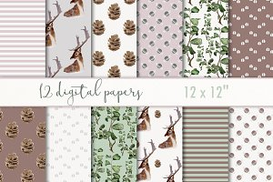 "Digital Paper ""Watercolor forest"""