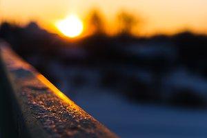 Horizontal vivid blank empty railing sunset bokeh background bac