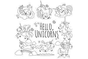 cute unicorn isolated line icon set, magic pegasus flying with wing and horn on rainbow, fantasy horse vector illustration, myth creature dreaming on white background, greeting card template