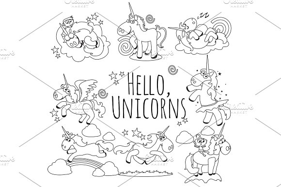 Cute Unicorn Isolated Line Icon Set Magic Pegasus Flying With Wing And Horn On Rainbow Fantasy Horse Vector Illustration Myth Creature Dreaming On White Background Greeting Card Template