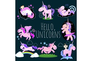 cute unicorn isolated set, magic pegasus flying with wing and horn on rainbow, fantasy horse vector illustration, myth creature dreaming on dark background, greeting card template