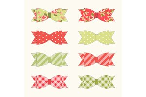 Set of 8 different retro fabric bows in shabby chic style