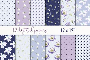 "Digital paper set ""Purple floral"""