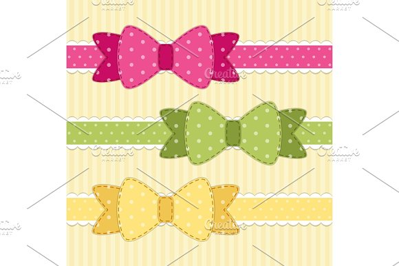 Set Of Different Retro Fabric Bows In Shabby Chic Style