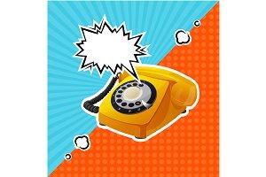 Retro Phone in Comic Style Vector