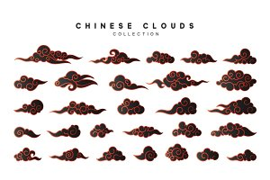 Collection color black clouds in Chinese style