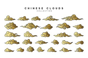 Collection color gold clouds in Chinese style