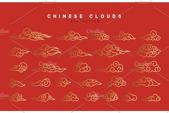 Collection Of Red And Gold Clouds In Chinese Style