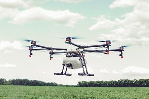 Professional agriculture drone flying and green wheat field,
