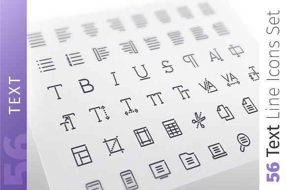 Text Line Icons Set