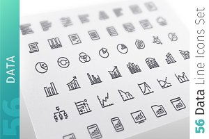Data Line Icons Set