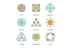 Abstract symbols color icons set