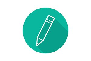 Pencil with eraser flat linear long shadow icon