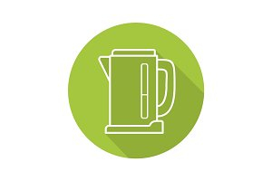 Electric kettle flat linear long shadow icon
